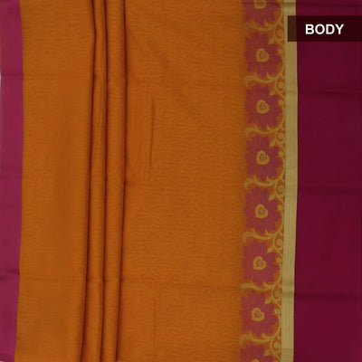 Kora silk saree Dark Yellow and Pink with Floral and zari border