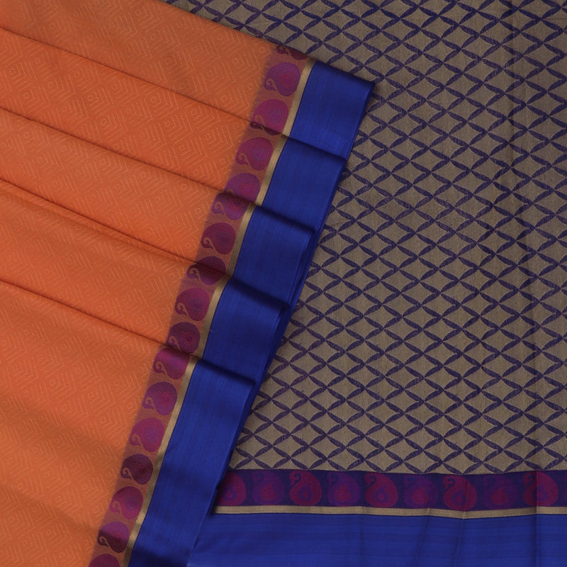 Kora silk saree Orange and Blue with Mango border