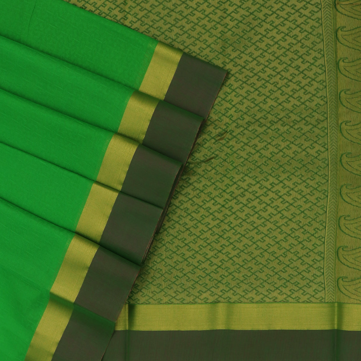 Kora silk saree Parrot Green and Purple with Zari border