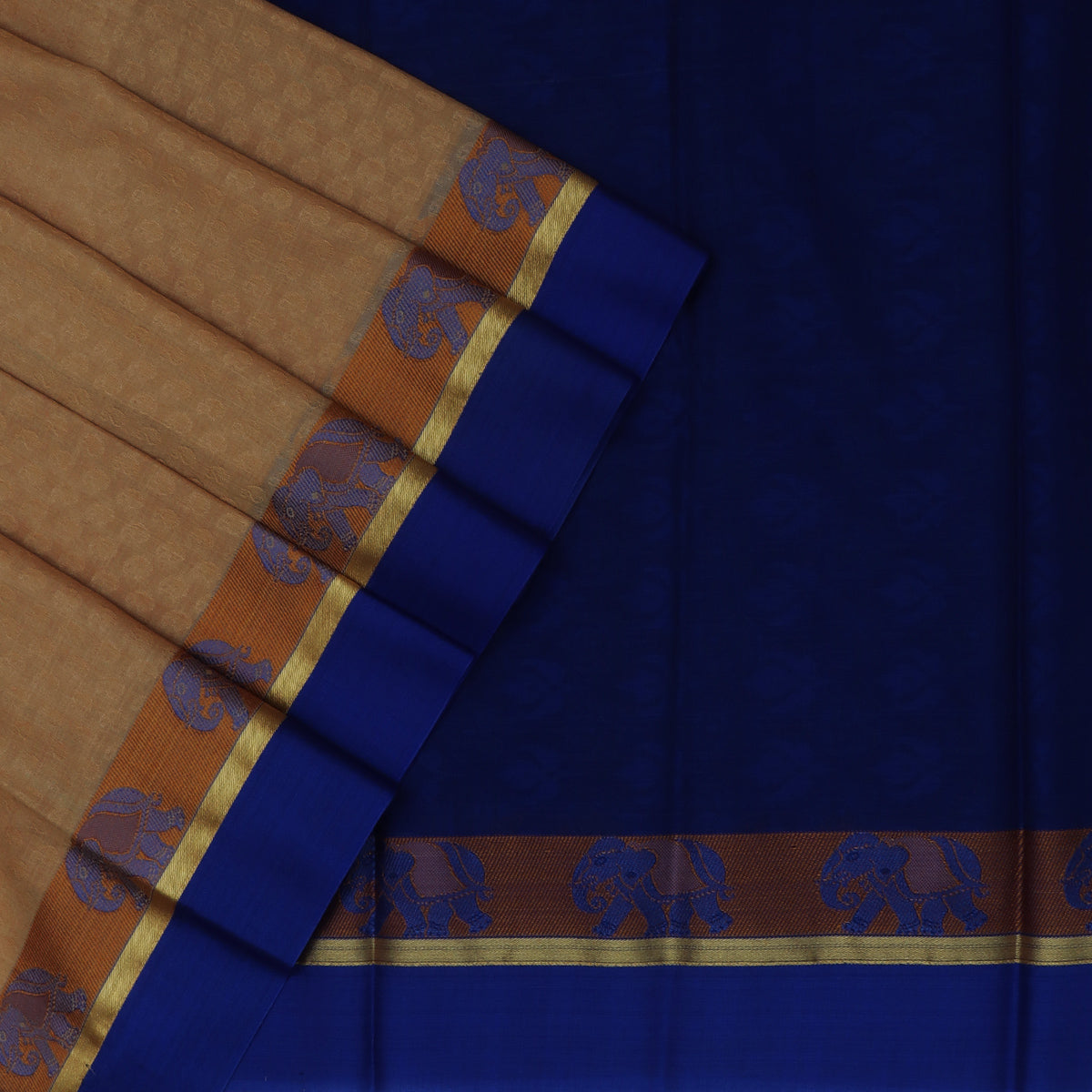 Kora silk saree Chikoo and Blue with Elephant border for Rs.Rs. 2320.00 | Kora Sarees by Prashanti Sarees