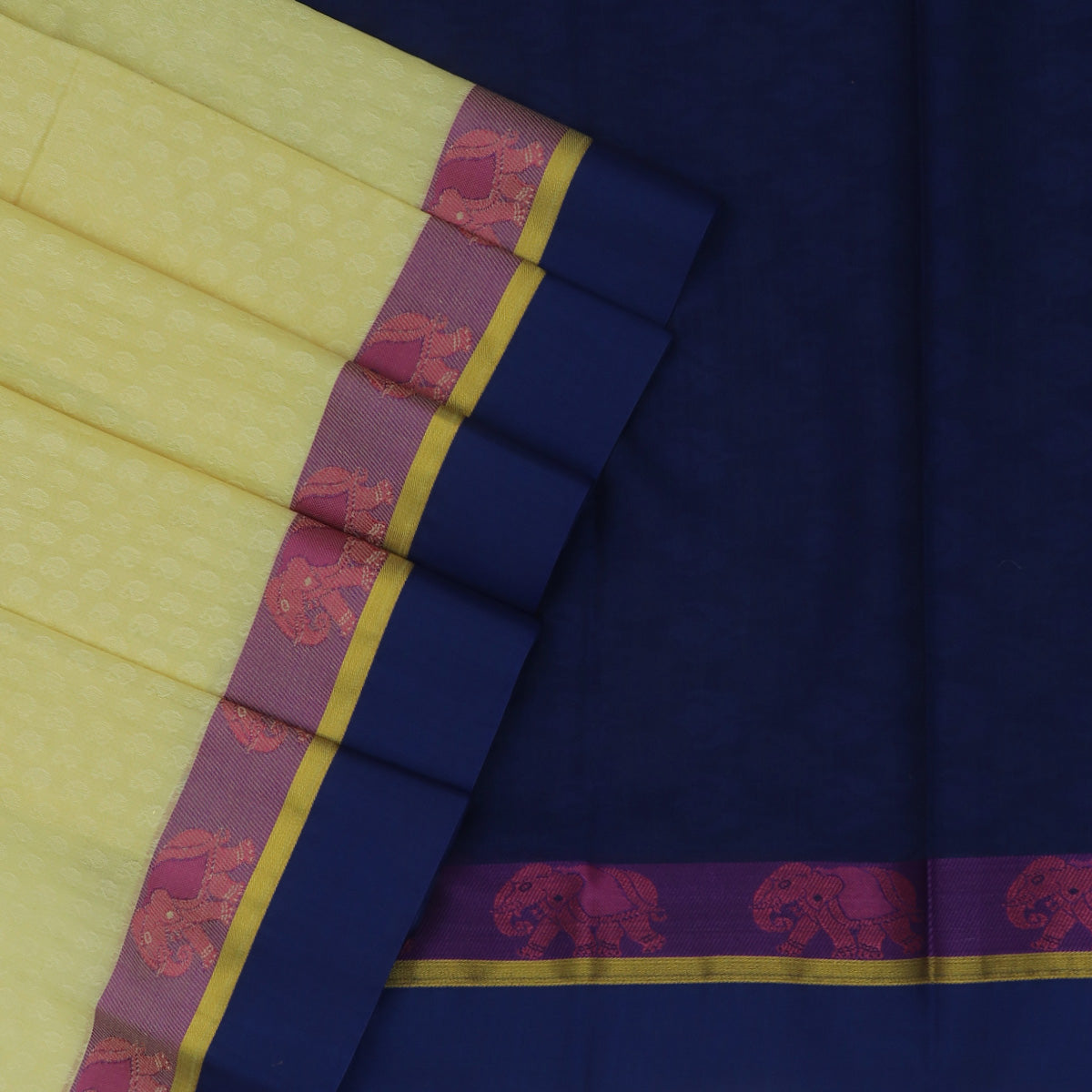 Kora silk saree Sandle and Blue with Elephant border