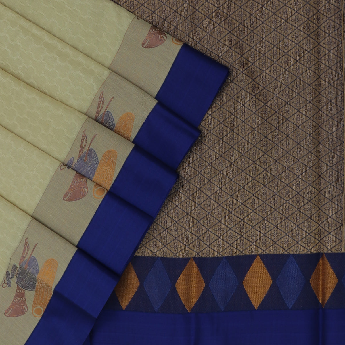 Kora silk saree White and Blue with instrumental border