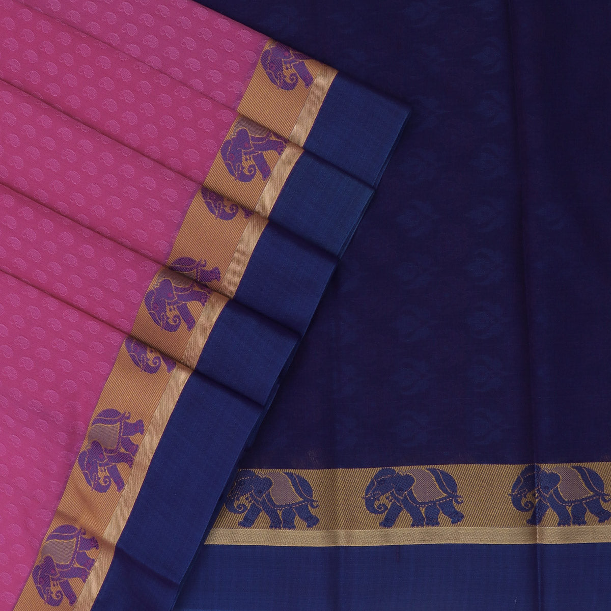 Kora silk saree Light Pink and Blue with Elephant border