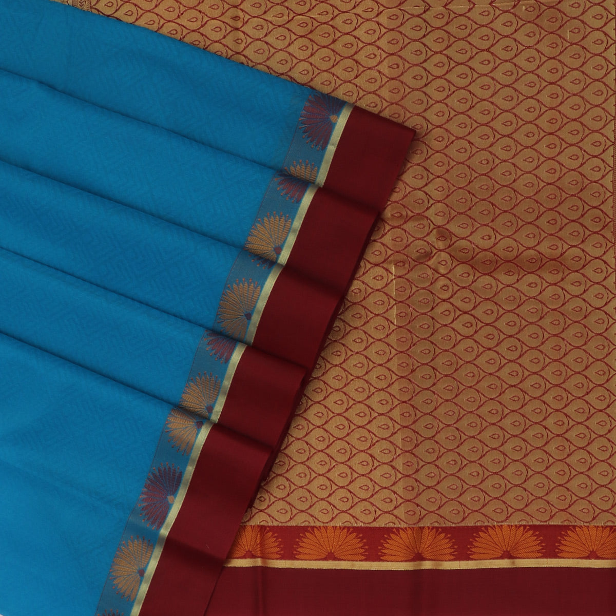 Kora silk saree Sky blue and Maroon with Flower border