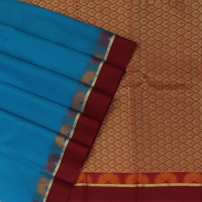 Kora silk saree Sky blue and Maroon with Flower border for Rs.Rs. 2320.00 | Kora Sarees by Prashanti Sarees