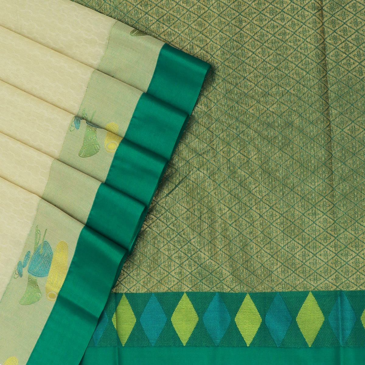 Kora silk saree White and Green with Instrumental border