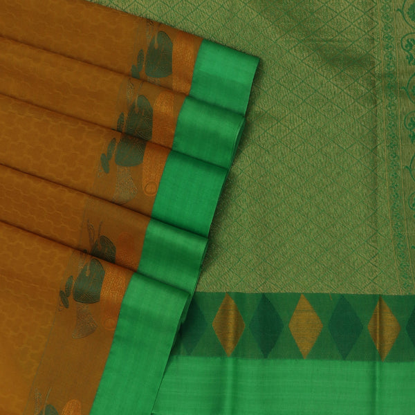 Kora silk saree Dark Mustard and Parrot Green with Instrumental border