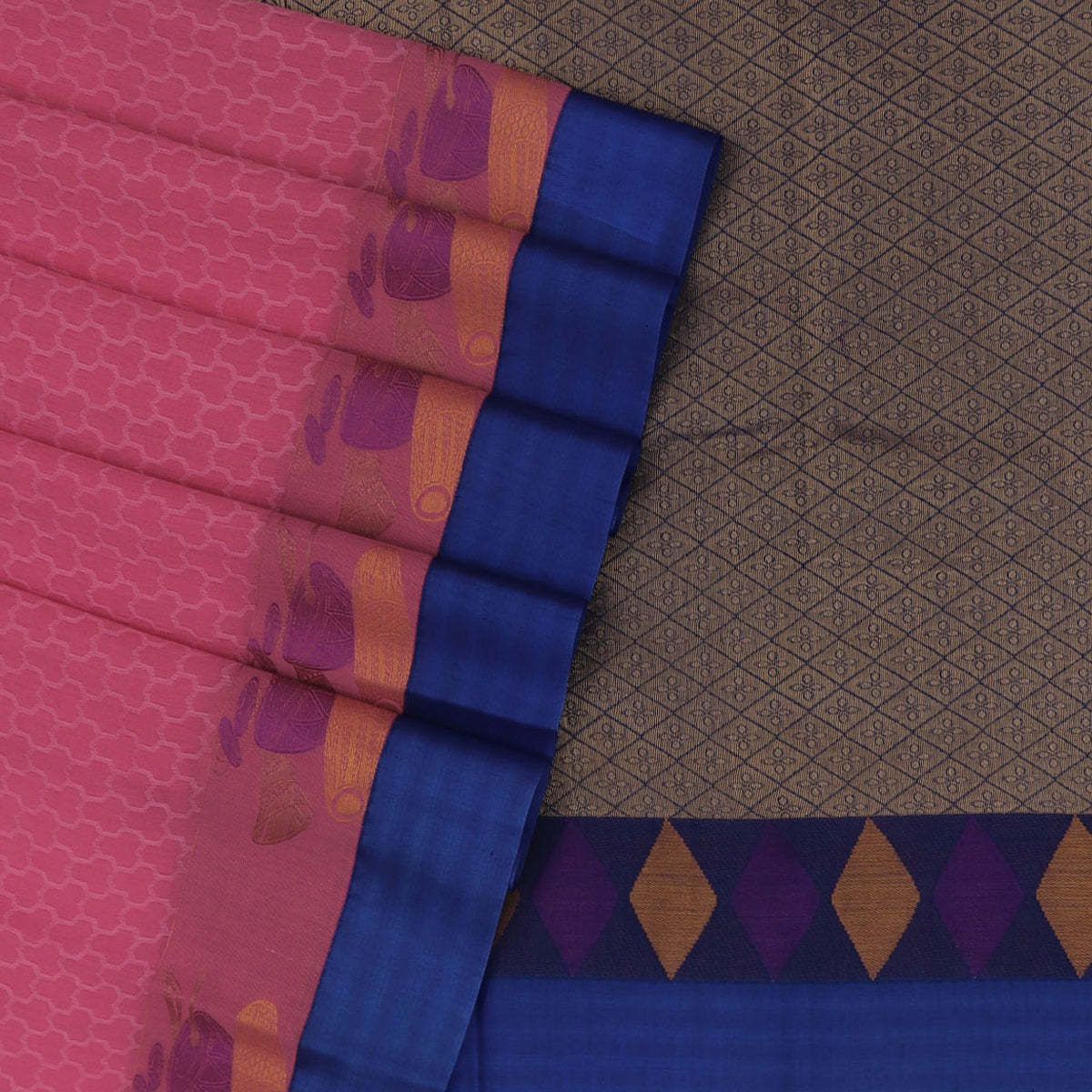 Kora silk saree Pink and Blue with Instrumental border