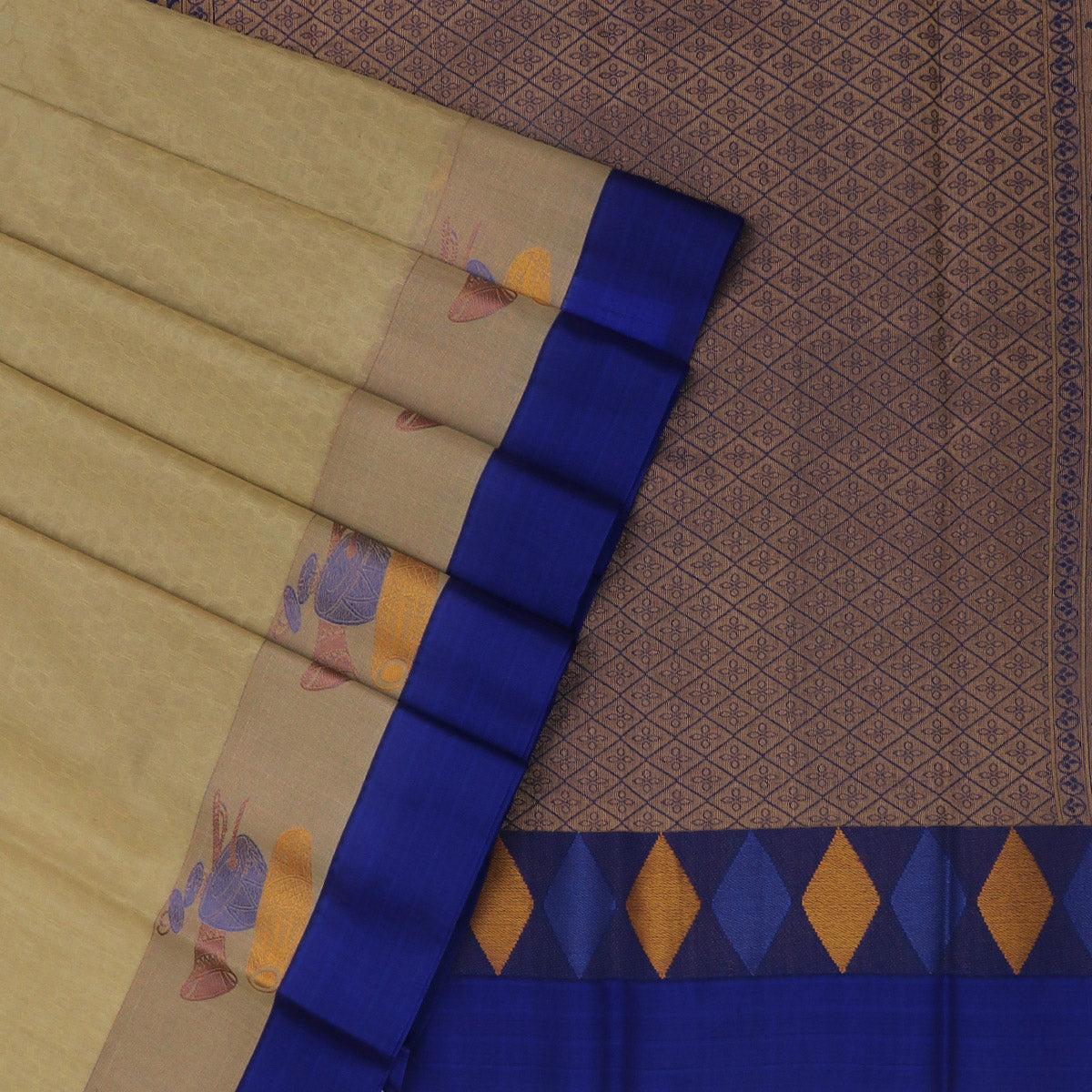 Kora silk saree Chikoo and Blue with Instrumental border