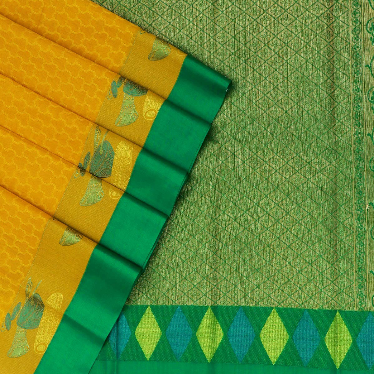 Kora silk saree Yellow and Green with Instrumental border