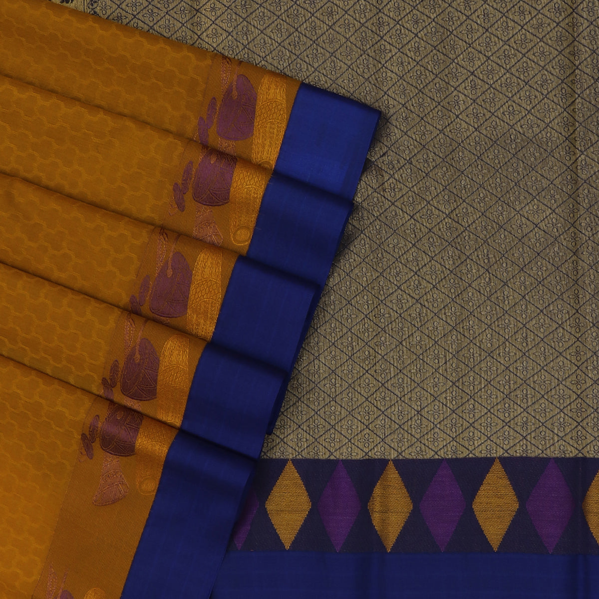 Kora silk saree Honey Yellow and Blue with Instrumental border