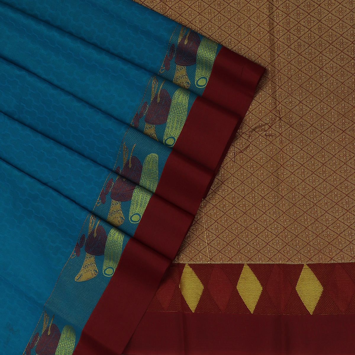 Kora silk saree Dark Sky Blue and Maroon with Instrumental border