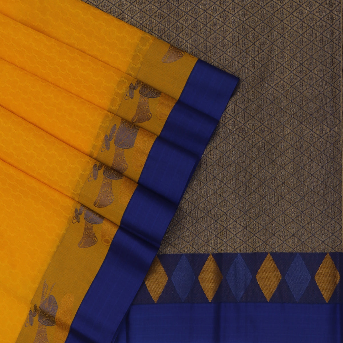 Kora silk saree Yellow and Blue with Instrumental border