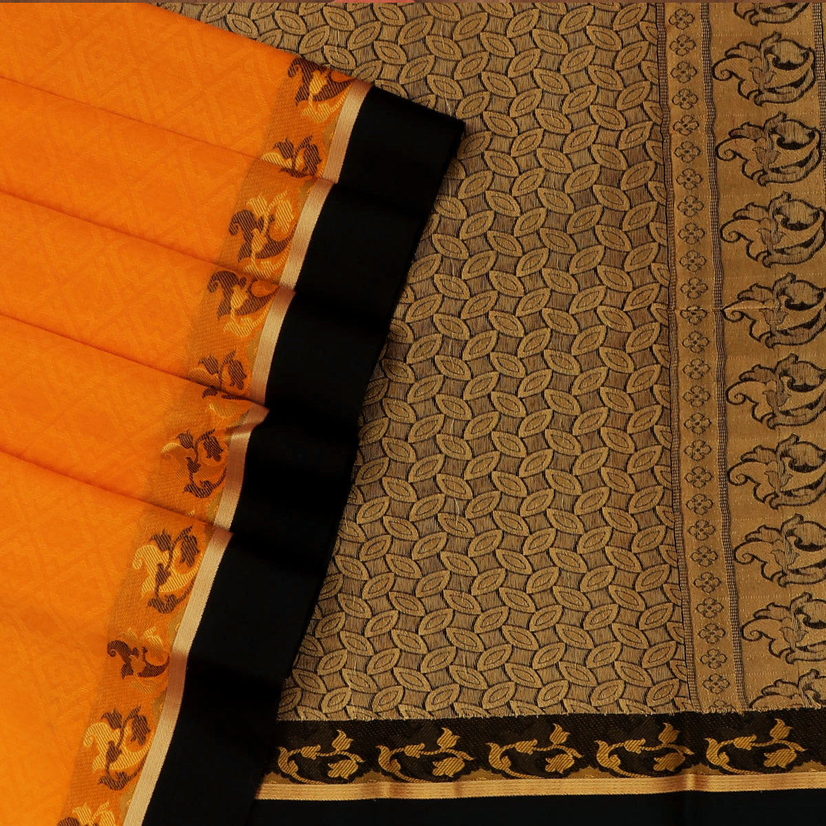 Kora silk saree Yellow and Black with Floral border