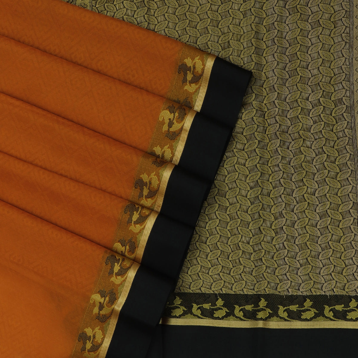 Kora silk saree Pumpkin Orange and Balck with Floral border
