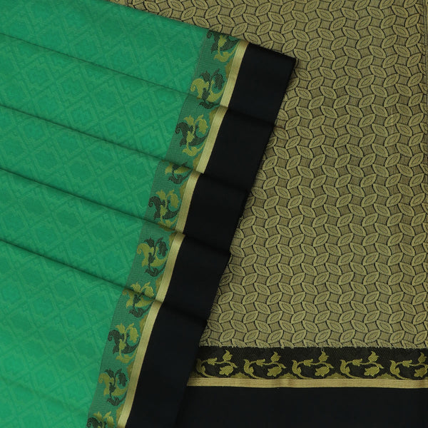 Kora silk saree Green and Black with Floral border