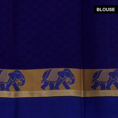 Kora silk saree Chikoo and Blue with Elephant border