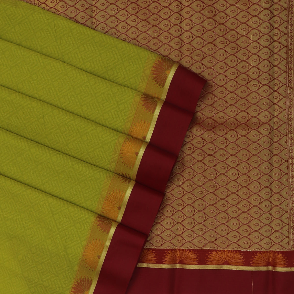 Kora silk saree Light Green and Maroon with Flower border