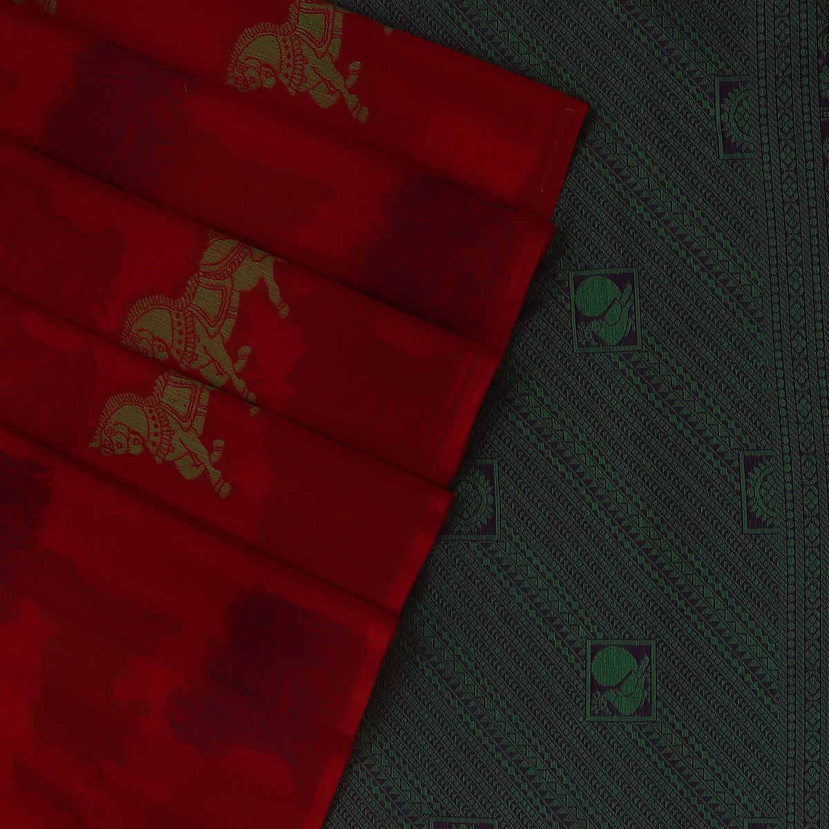 Kora silk saree Red and Blue with Horse design