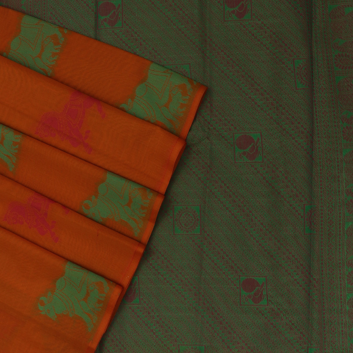 Kora silk saree Dark Honey color and Parrot Green with Horse design