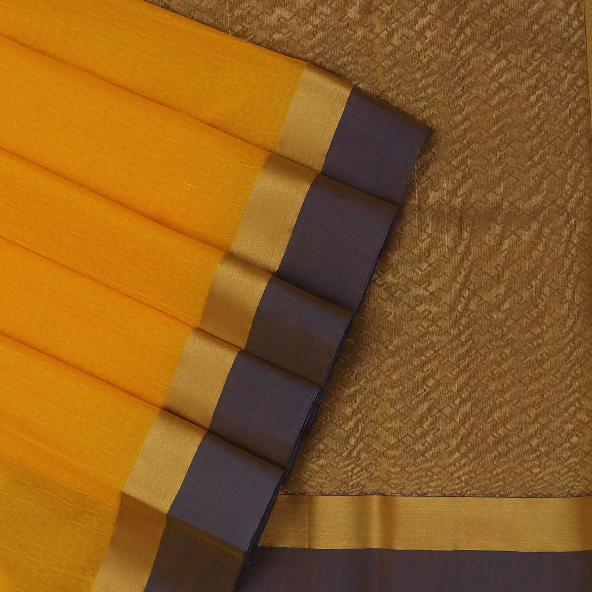 Kora silk saree Yellow and Blue with Zari Border