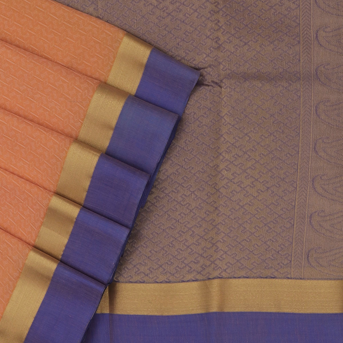 Kora silk saree Light Orange and Blue with Zari Border