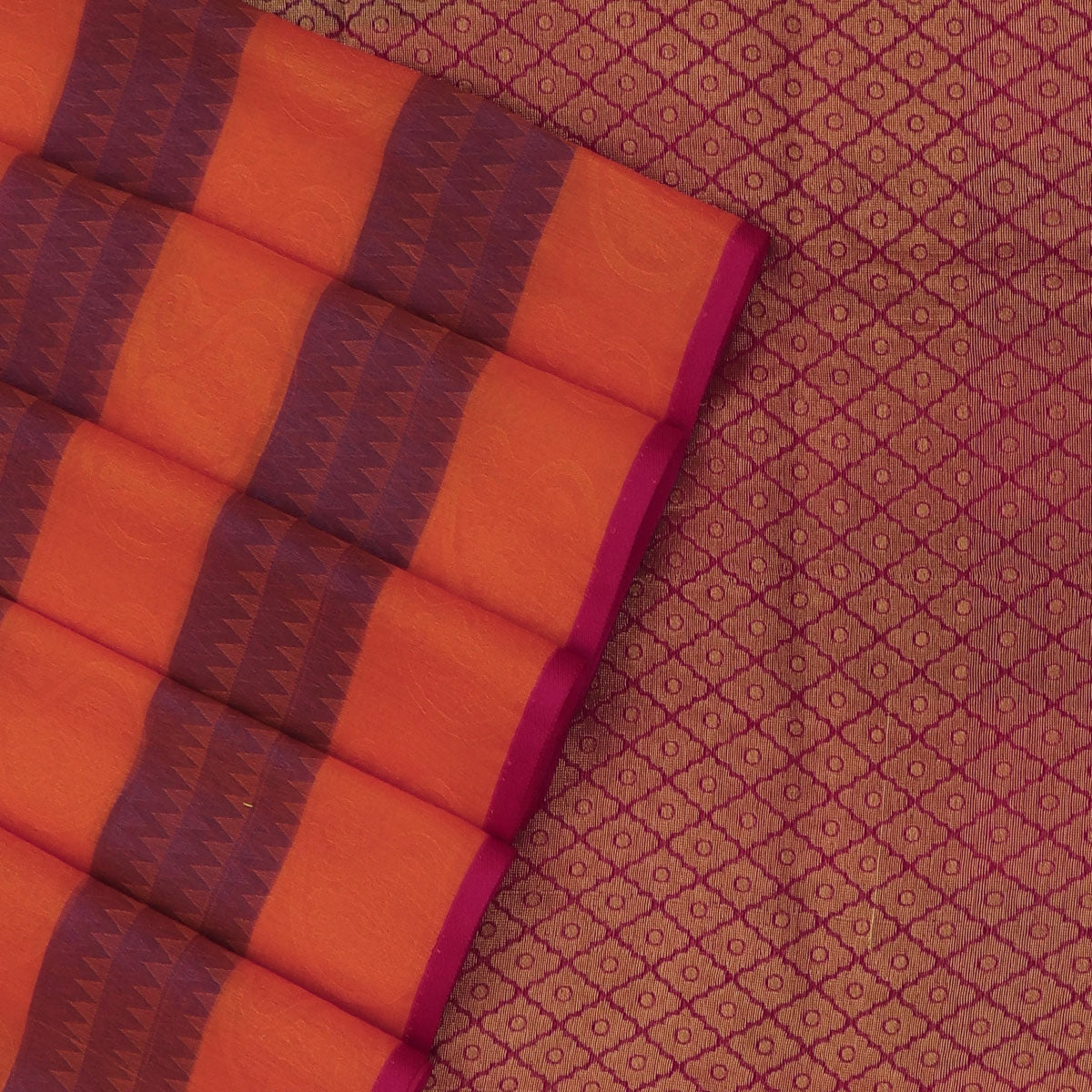 Kora silk saree Orange with Blue and Pink with Simple Border