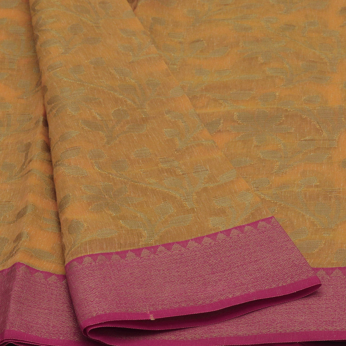Banarasi Organza Saree Light Orange shade  and Pink with Flower Design and Temple Border
