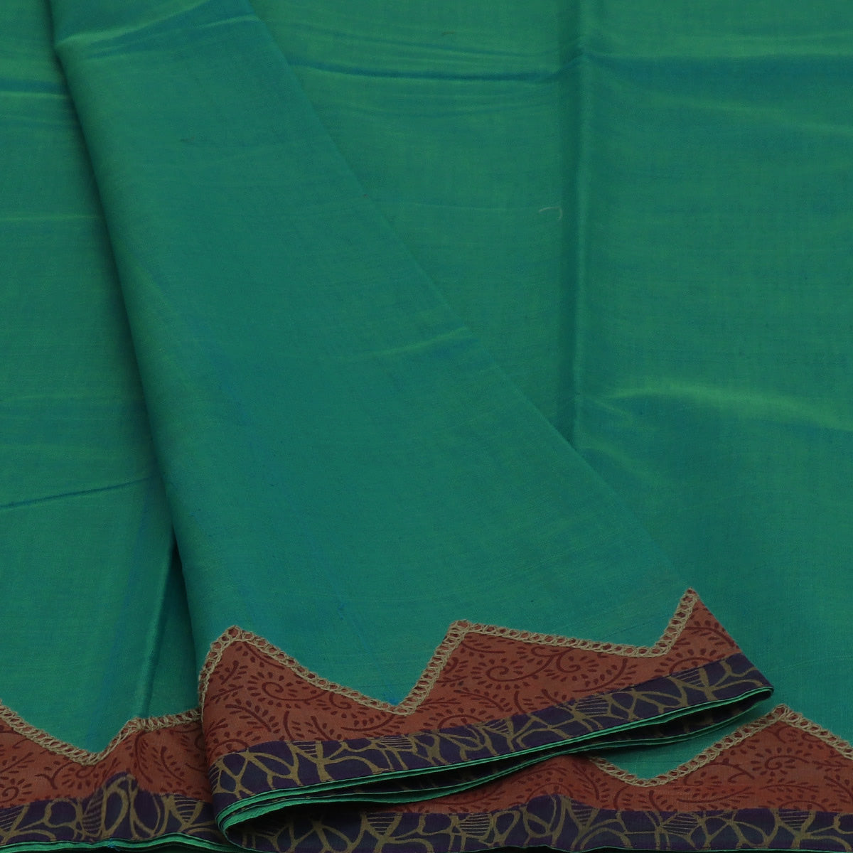 Mercerised Cotton Saree Sky Blue with Green Dual Shade and Brown with Applique Work