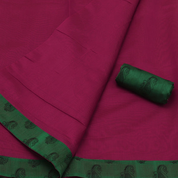 Mercerised Cotton Saree Pink and Green with Printed Border