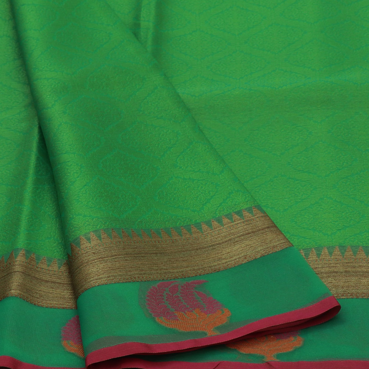 Banarasi Kora Muslin Saree Light Green and Pink with Temple border