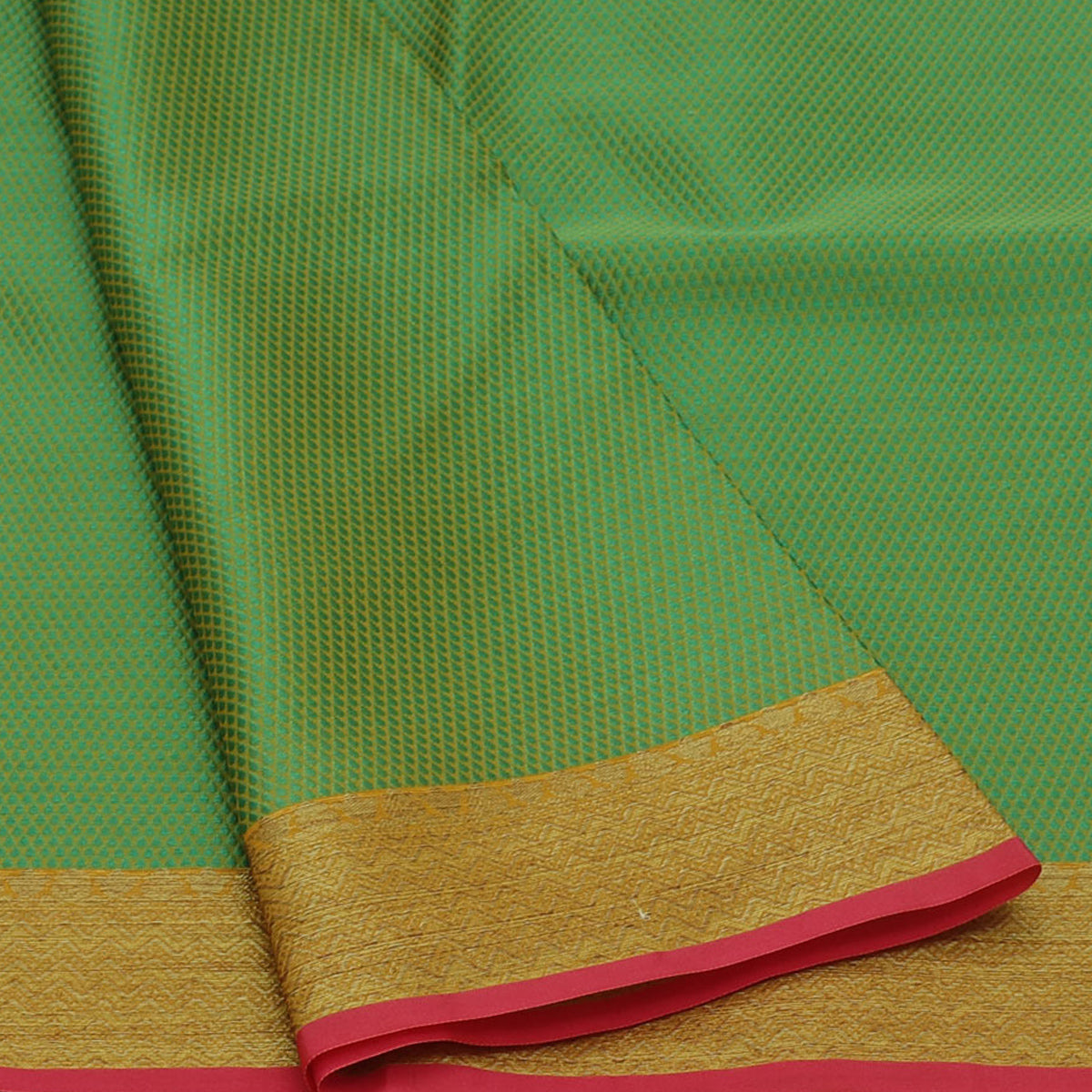Banarasi Kora Muslin Saree Green and Pink with Simple border