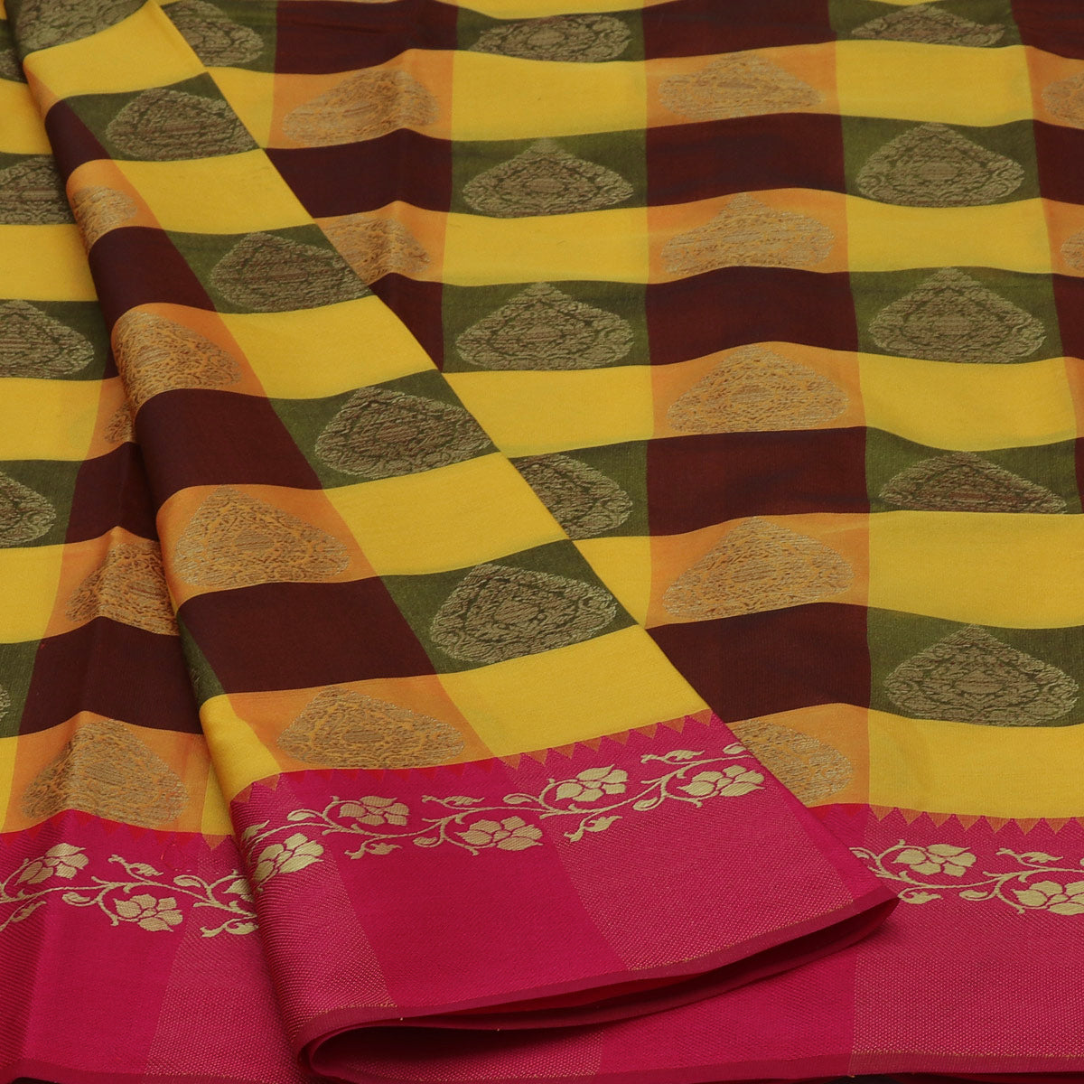 Banarasi Kora Muslin Saree Yellow and Orange Checked with Pink Floral border