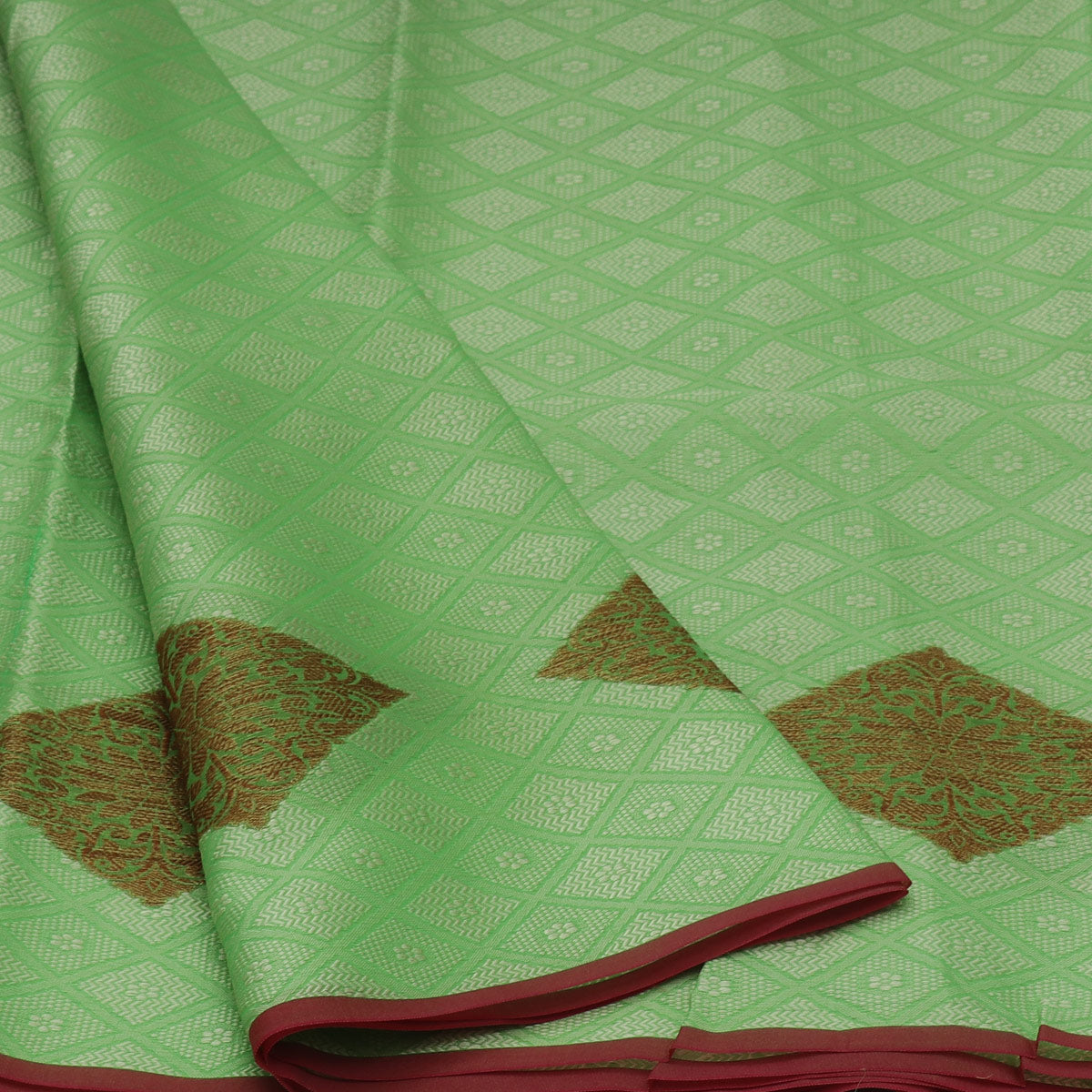 Banarasi Kora Muslin Saree Mint Green and Pink with Simple border