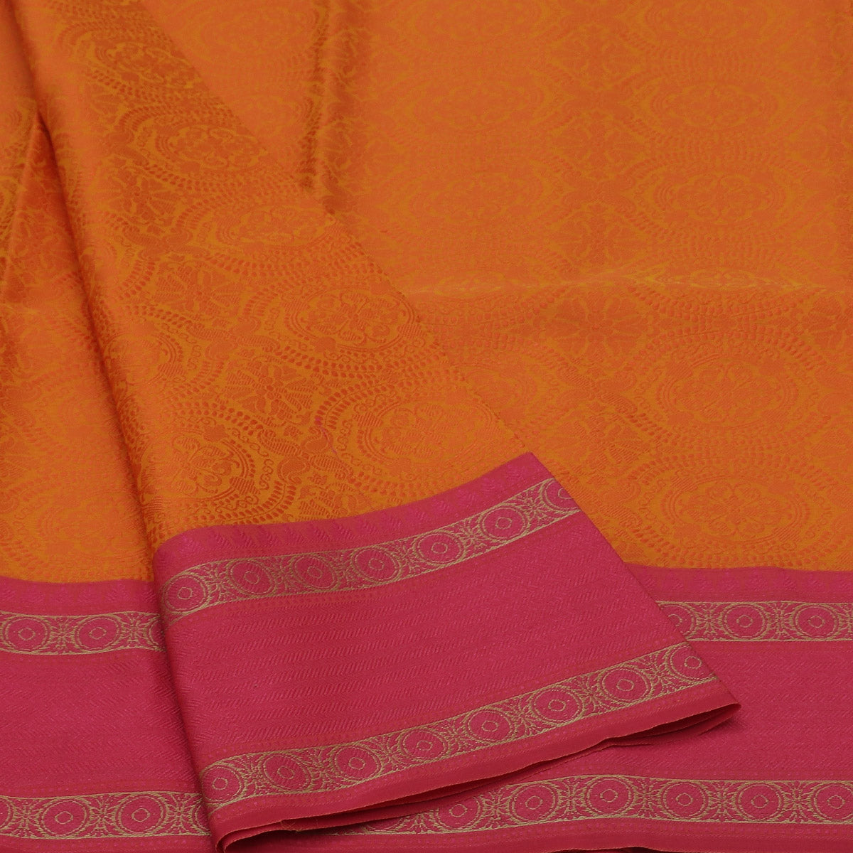 Banarasi Kora Muslin Saree Orange and Pink with Round border