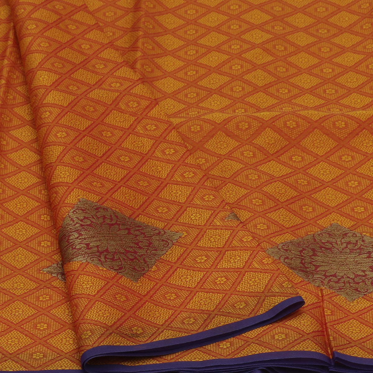 Banarasi Kora Muslin Saree Mixed Yellow with Orange and Blue with Simple border