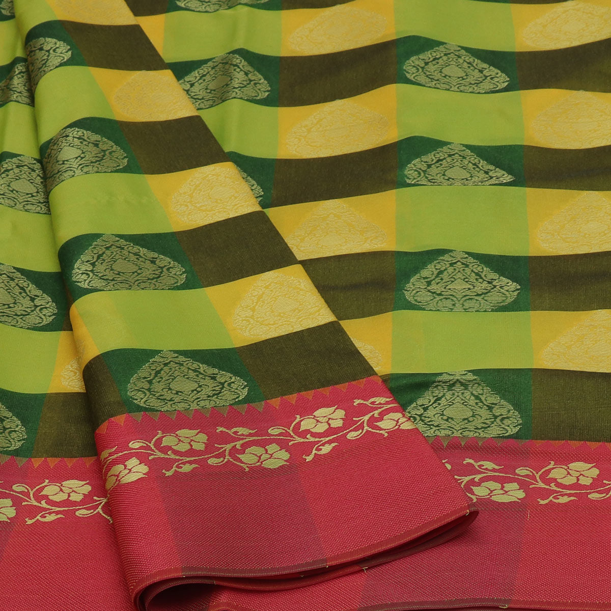 Banarasi Kora Muslin Saree Yellow and Green Checked with Pink Floral border