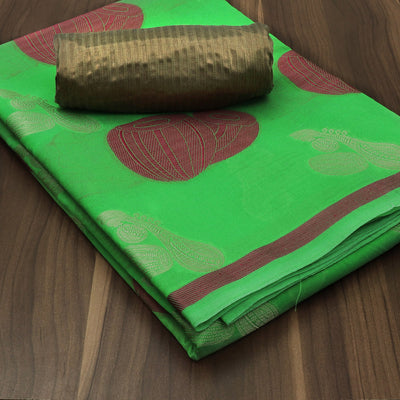 Banarasi Organza Saree Parrot Green with Instrumental design and Golden blouse