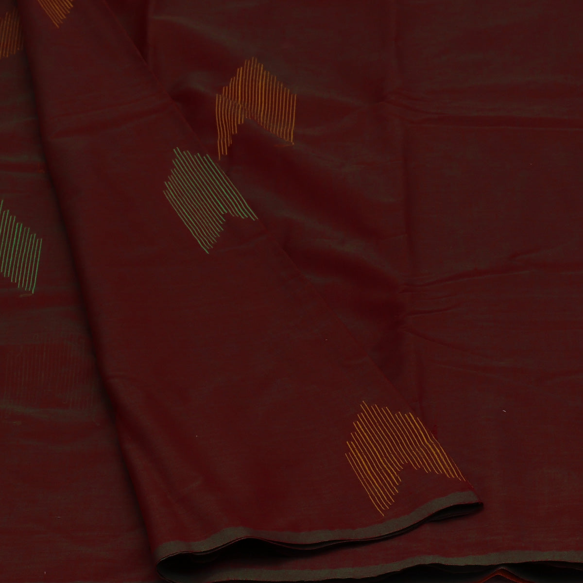 Kora Silk Saree Maroon with Green Dual shade and Honey Color with Simple Border