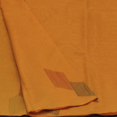 Kora Silk Saree Yellow and Blue with Simple Border