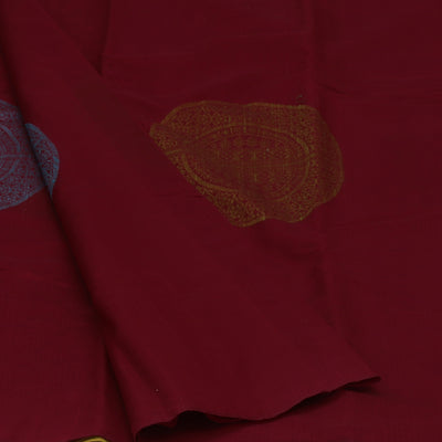 Kora Silk Saree Maroon and Mehandi Green with Simple Border