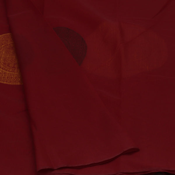 Kora Silk Saree Maroon and Orange with Simple Border