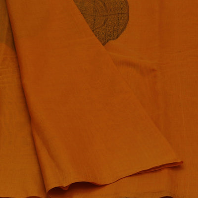 Kora Silk Saree Dark Yellow and Black with Simple Border