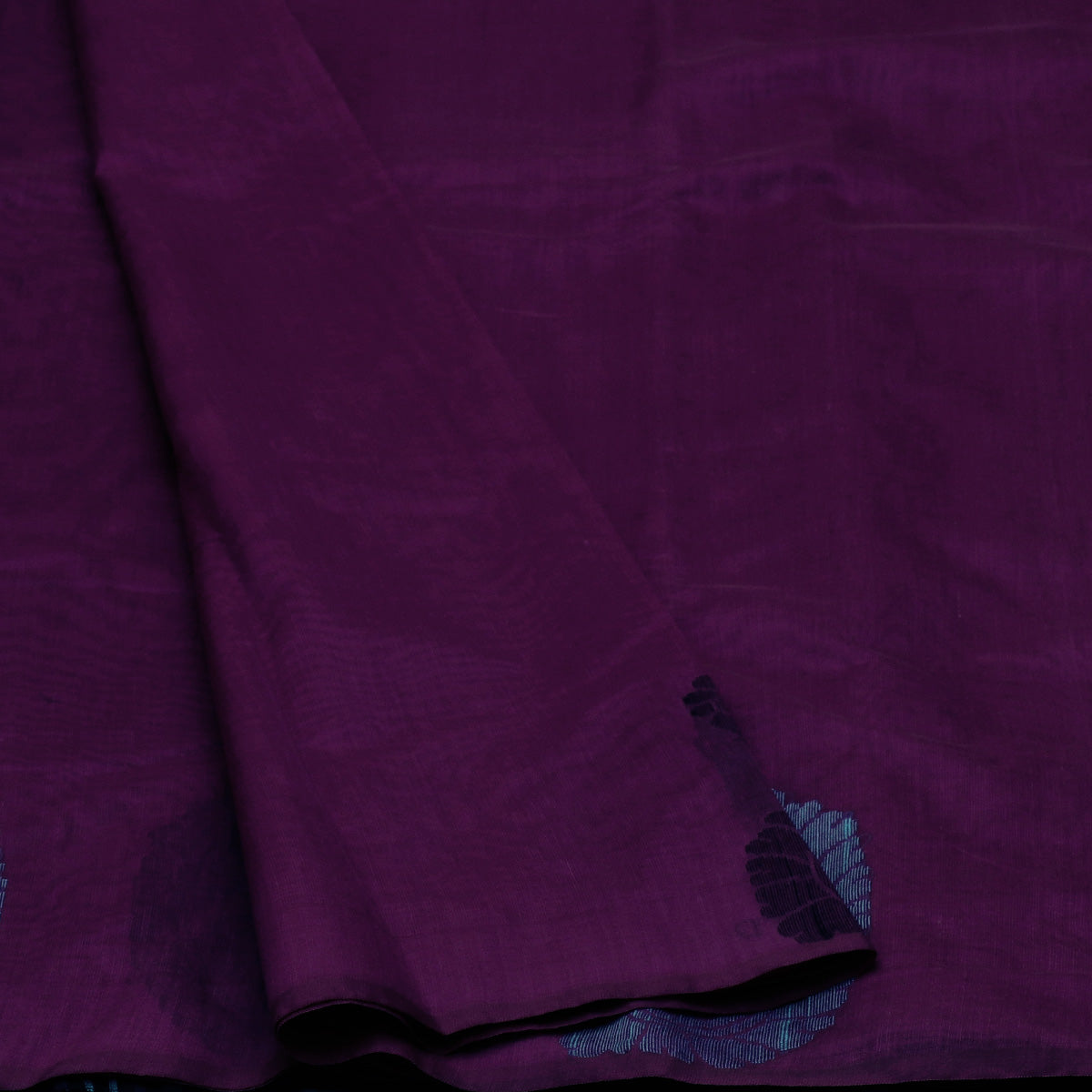 Kora Silk Saree Violet and Black with Simple Border
