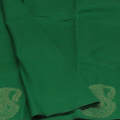 Kora Silk Saree Green and Black with Simple Border