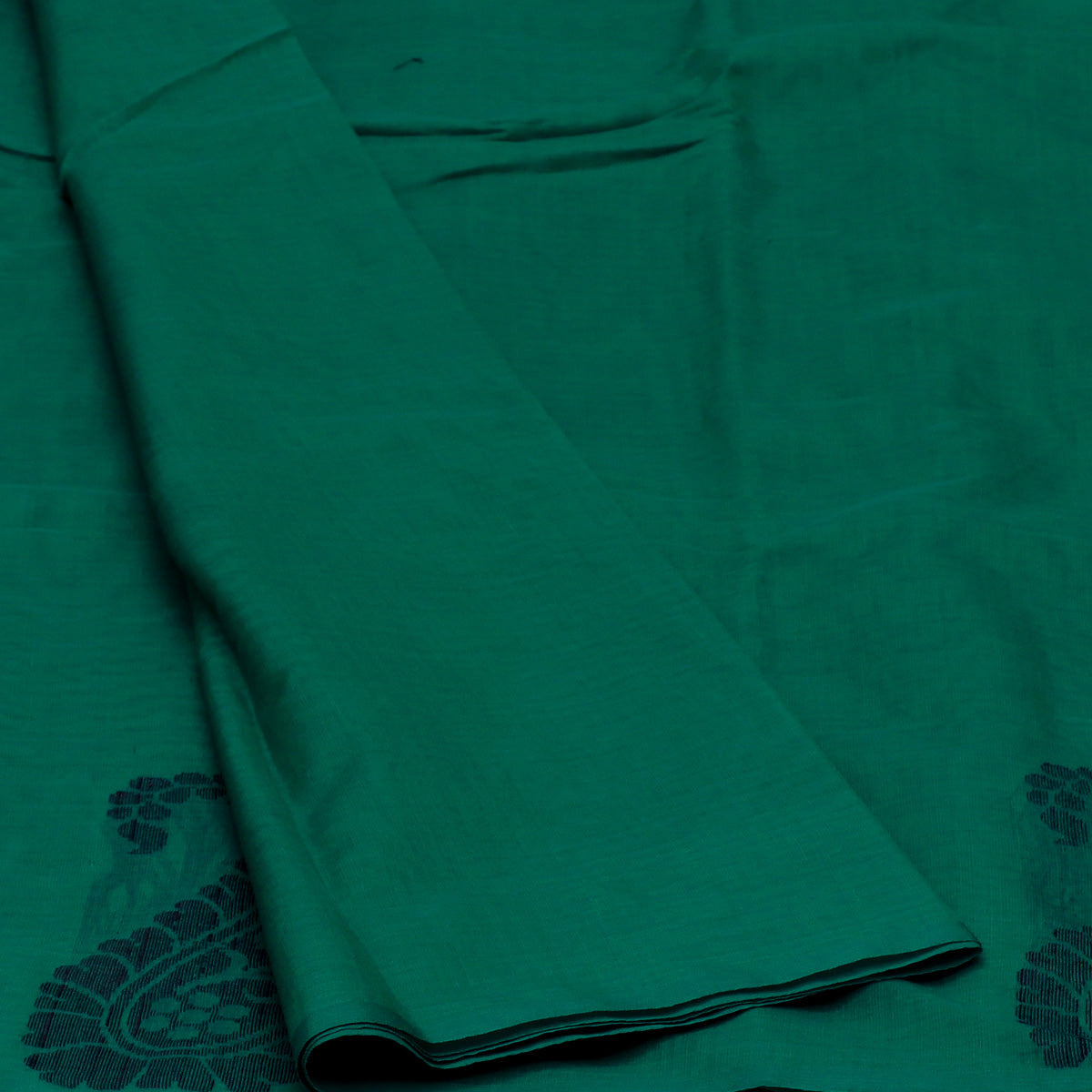 Kora Silk Saree sea Green and Black with Simple Border