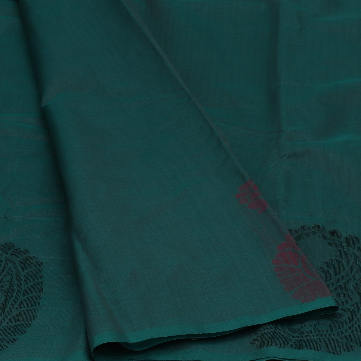 Kora Silk Saree Teal Blue and Black with Simple Border
