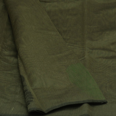 Kora Silk Saree Grey and Green with Simple Border