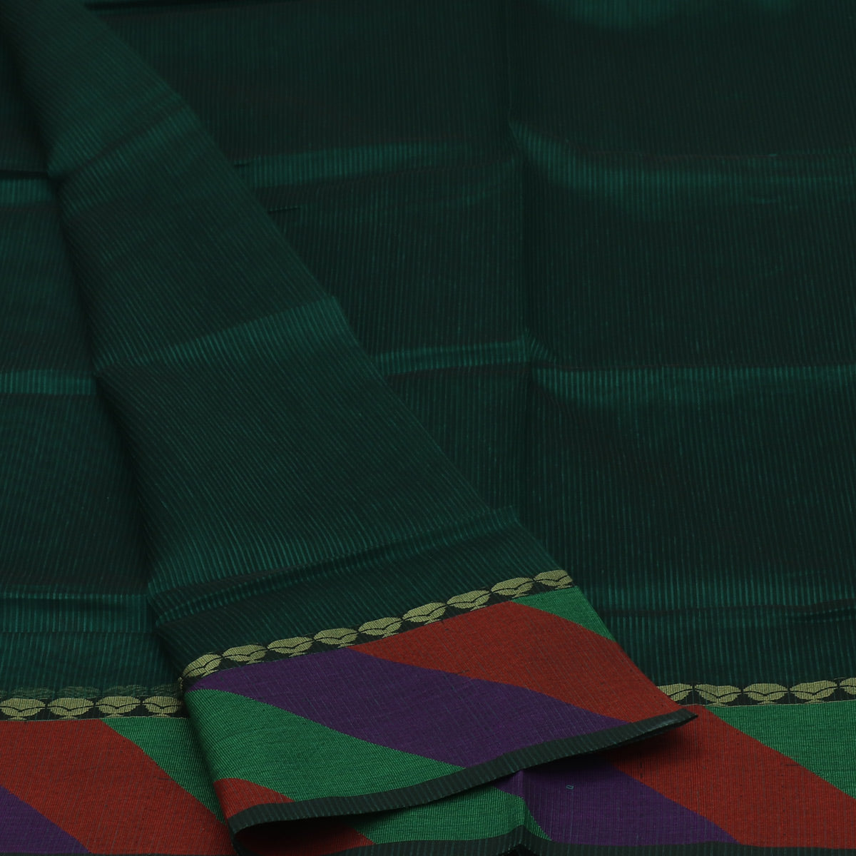 Mercerised Cotton Saree Dark Green with Simple Border