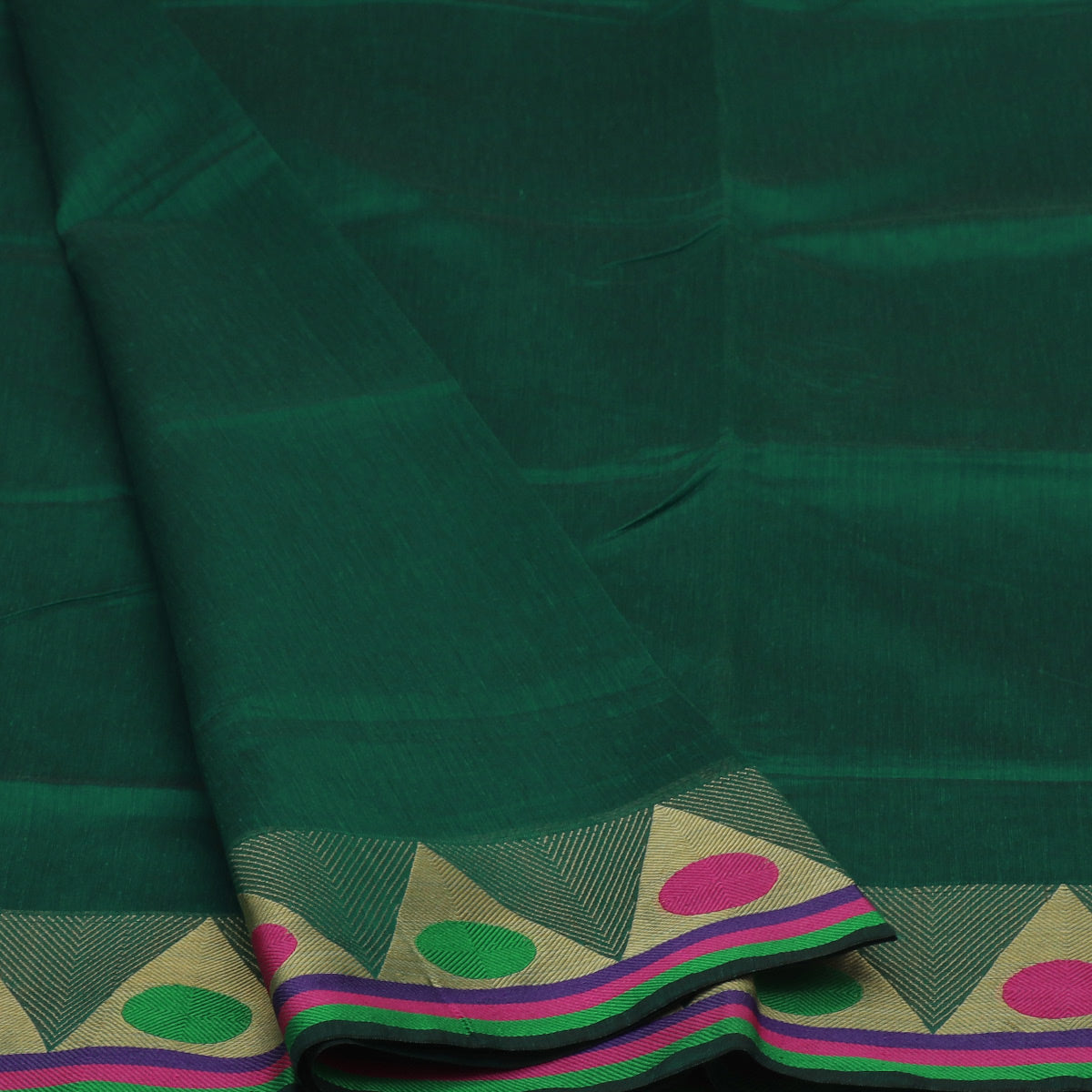 Mercerised Cotton Saree Dark Green with Temple zari Border